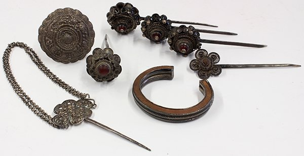 Eight Asian Hair Pins and Bracelet