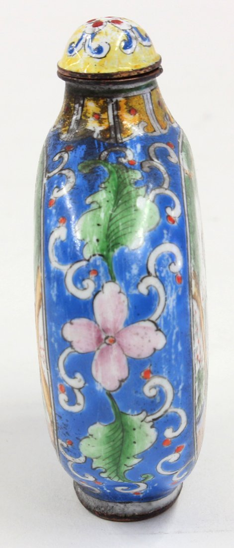 Chinese Enameled Snuff Bottle, Cranes - 2