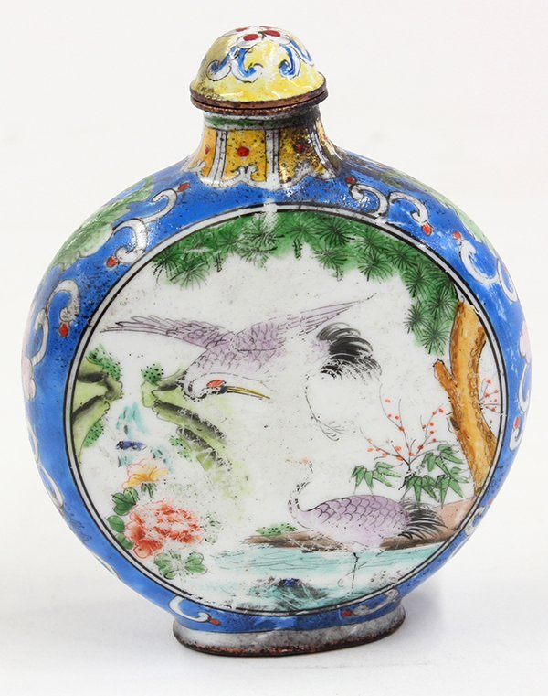 Chinese Enameled Snuff Bottle, Cranes - 3