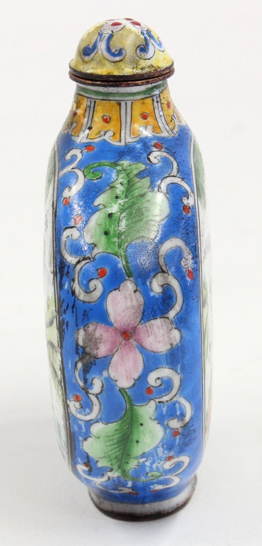 Chinese Enameled Snuff Bottle, Cranes - 4