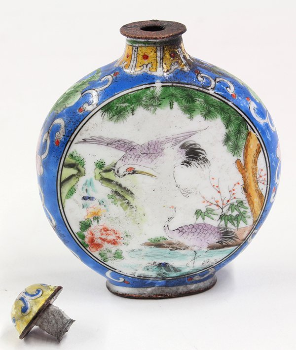 Chinese Enameled Snuff Bottle, Cranes - 5