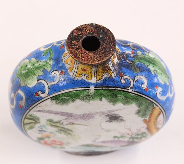 Chinese Enameled Snuff Bottle, Cranes - 6
