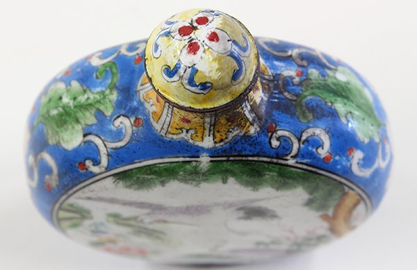Chinese Enameled Snuff Bottle, Cranes - 7