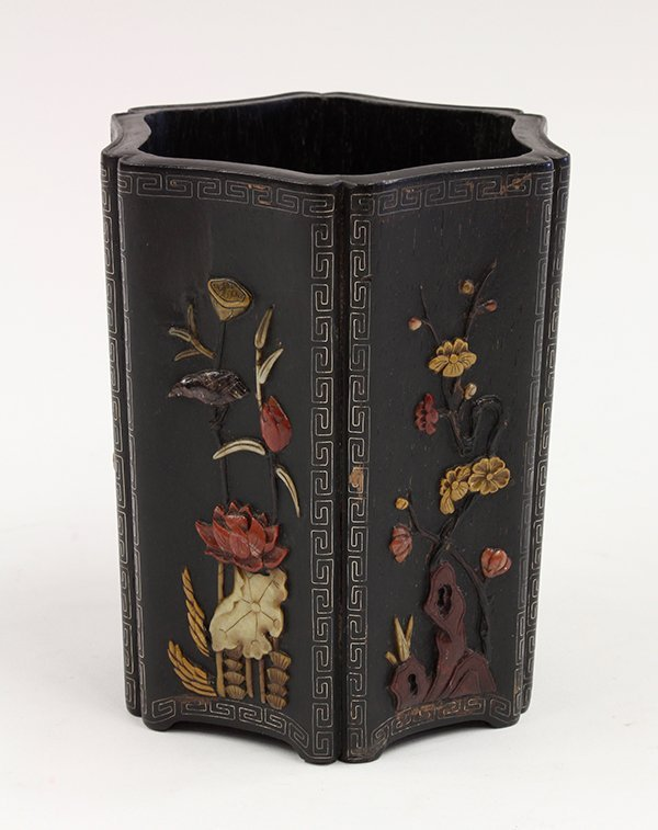 Chinese Overlaid Wooden Brush Pot