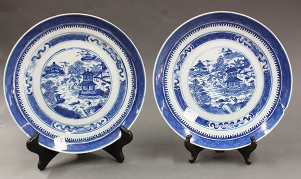 Two Chinese Blue-and-White Export Plates