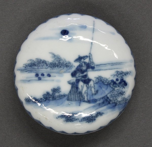 Chinese Blue-and-White Porcelain Seal Paste Box