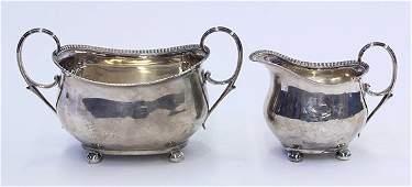 American coin silver sugar bowl and creamer