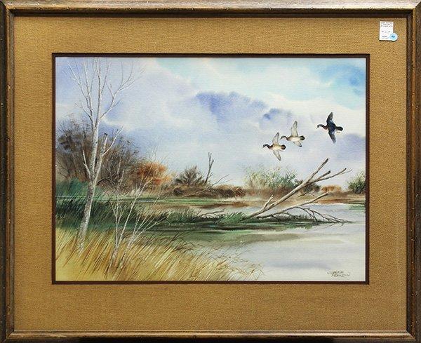 Watercolor, Ducks in Flight, by Sherm Pehrson
