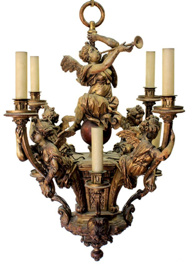 Italian giltwood carved chandelier