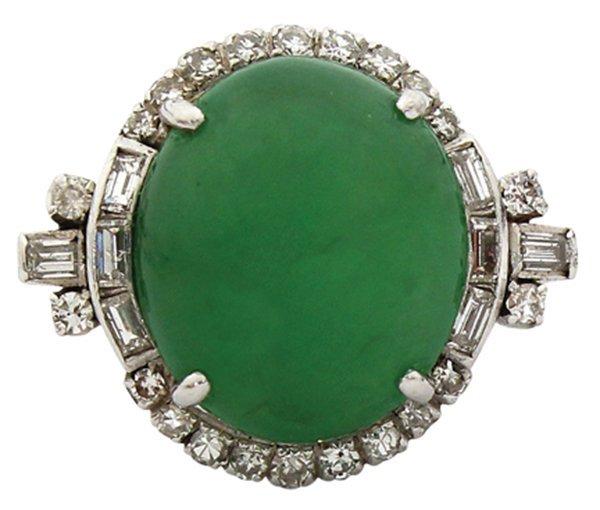 Fine jadeite and diamond ring in platinum GIA
