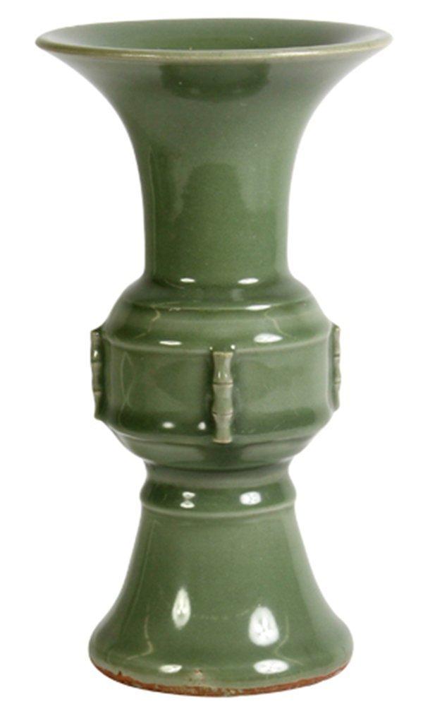 Chinese Celadon Glazed Gu-form Vase