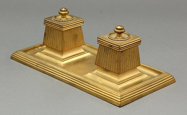 Classical style gilt bronze inkwell