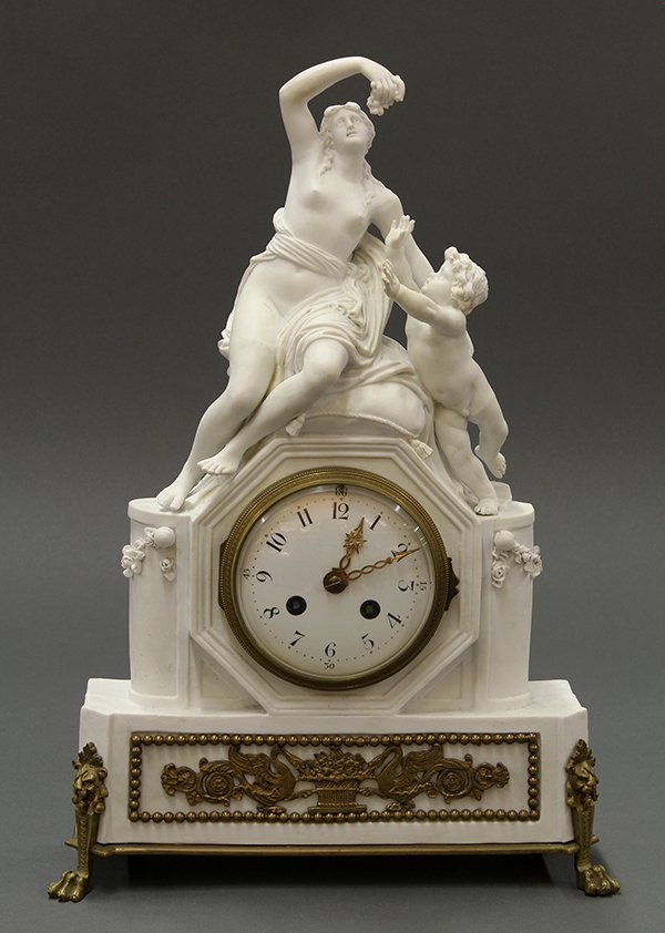 French parian and gilt bronze mantle clock
