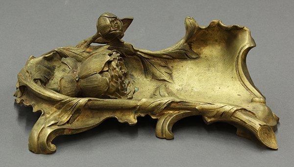 Art Noveau gilt bronze inkwell