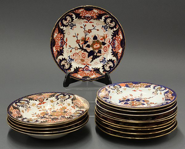 Royal Crown Derby Kings pattern plates and  bowls