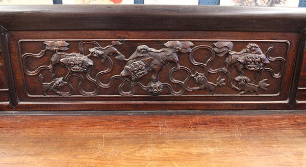 Chinese Carved Wooden Settee/Day Bed - 5