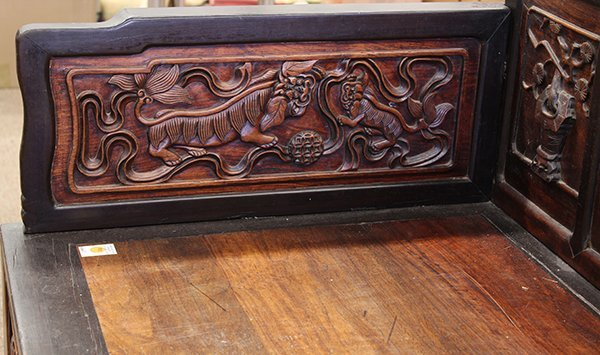 Chinese Carved Wooden Settee/Day Bed - 6