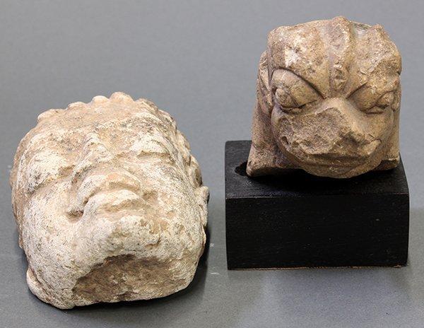 East India, Buddha Head and Lion Head, 7th c. Style