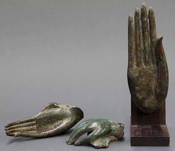 Three Thai Bronze Buddha Hands