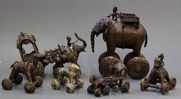Six East Indian Copper Alloy Toys