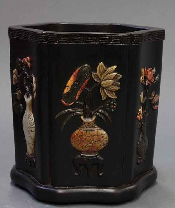 Chinese Wooden Brush Pot with Stone Inlay