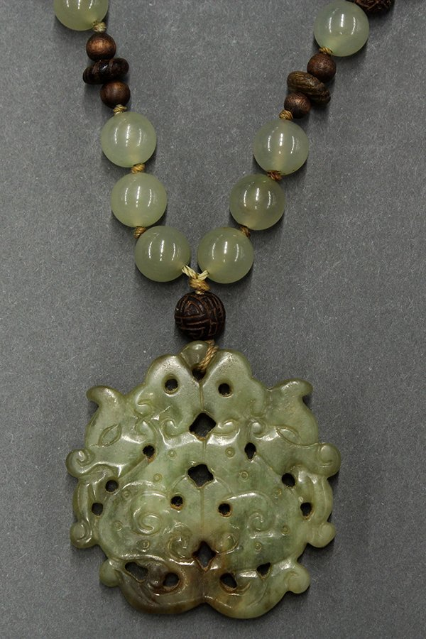 Chinese Jade Plaque and Bowenite Necklace