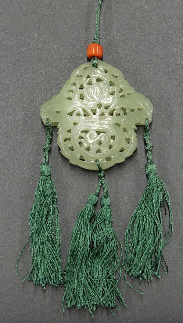 Chinese Pierced Jade Plaques/Sachet, Flower Basket