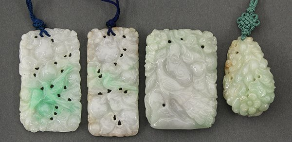 Four Chinese Carved Jadeite Plaques