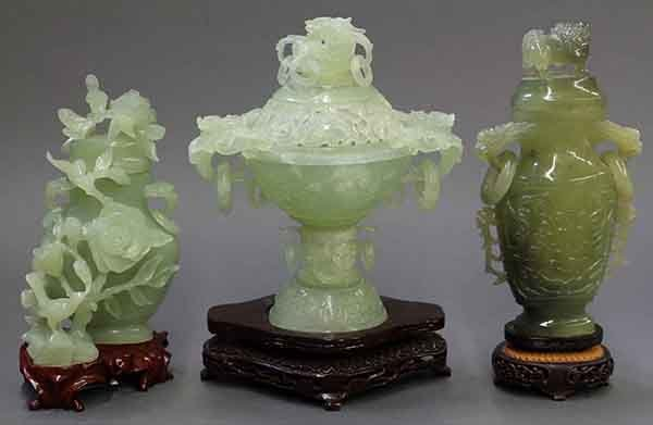 Chinese Green Hardstone Censer and Urns