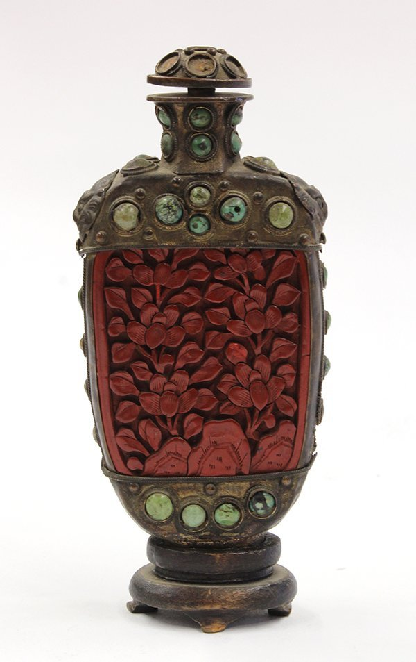 Chinese Cinnabar and Turquoise Snuff Bottle