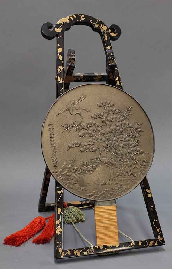 Japanese Bronze Mirror with Lacquer Stand