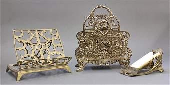 Vintage brass desk articles