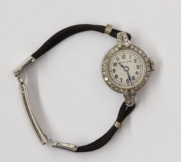 Platinum diamond Bulova wristwatch