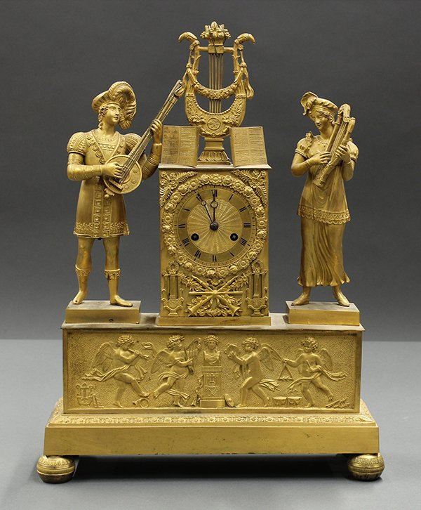 French Empire gilt bronze figural mounted mantle clock