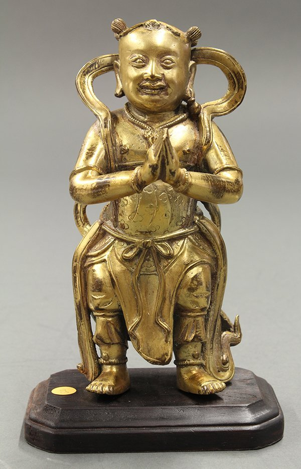 Chinese Bronze Figure of a Celestial Attendant