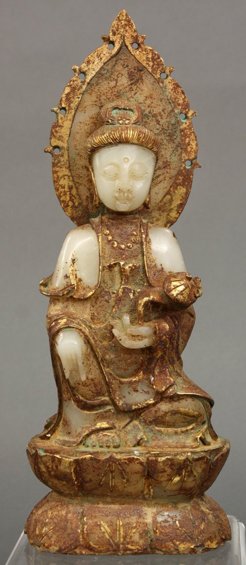 Chinese Gilt Stone Figure of Guanyin