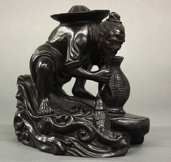Chinese Wooden Carving of a Fisherman