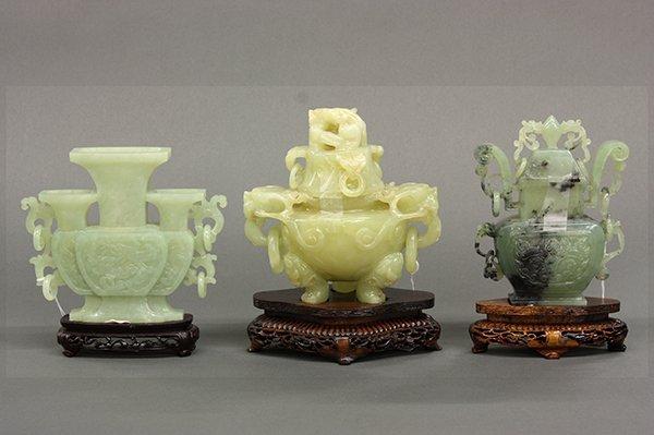 Three Chinese Jade/Hardstone Vessels