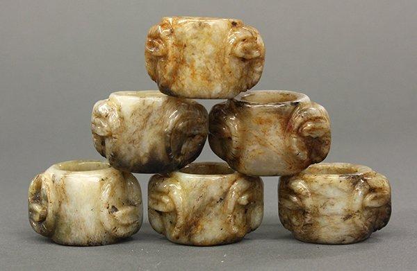 Six Chinese Jade Thumb Rings