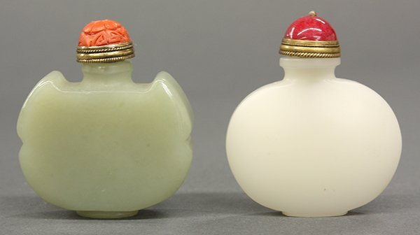 Two Chinese Jade and Hardstone Snuff Bottle