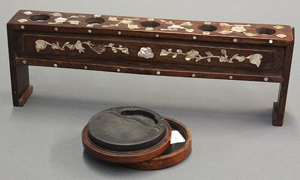 Chinese Inkstone and Mother-of-Pearl Inlaid Wood Stand