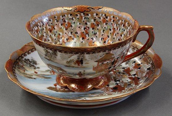 Japanese Kutani Wataya  Porcelain Tea Cup/Saucer