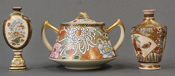Three Japanese Satsuma Style Sugar Pot and Mini Vases