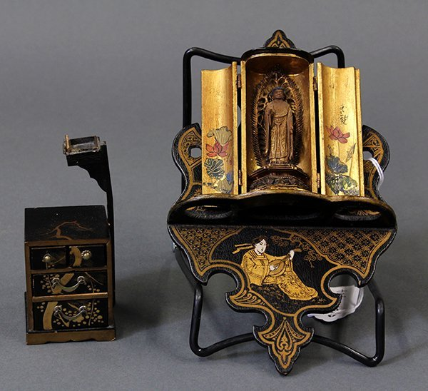 Japanese Traveling Buddhist Shrine, Mini Sewing Box and