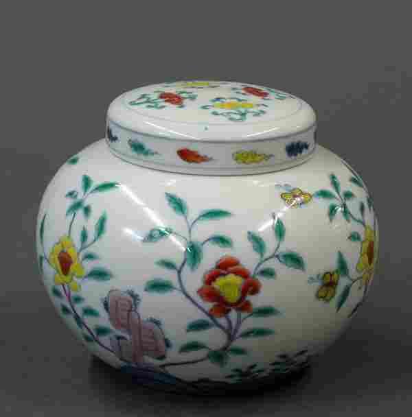 Chinese Doucai Enameled Porcelain Jar