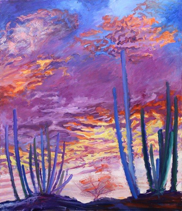 Painting, Desert Sunset Landscape
