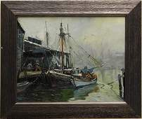 Painting, after Emile Albert Gruppe, Boats in Harbor