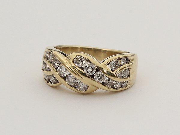 Yellow gold diamond band ring