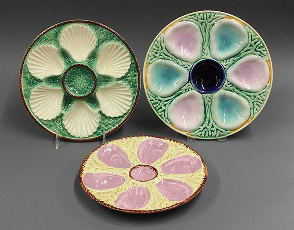 Shell and seaweed majolica oyster plates, 19th century.