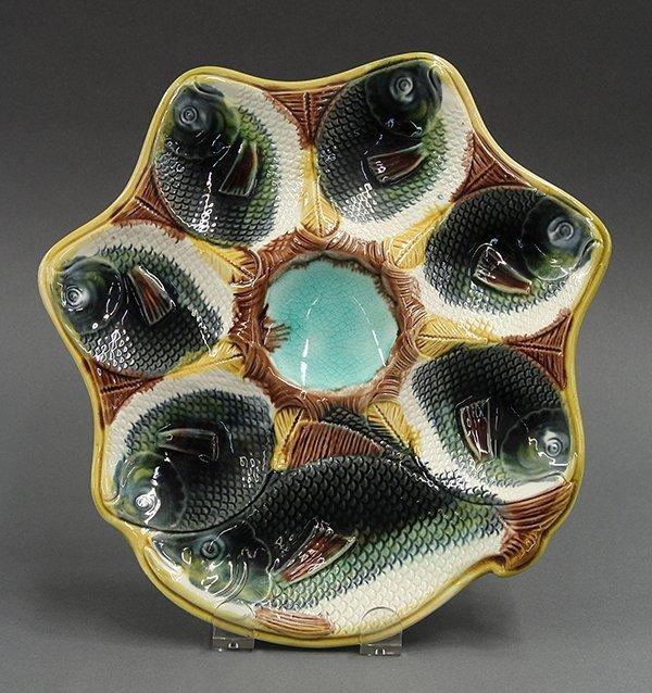 Majolica fish-head oyster plate, 19th century